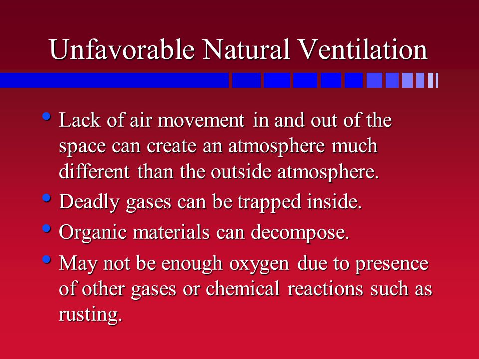 Unfavorable Natural Ventilation Lack of air movement in and out of the space can create an atmosphere much different than the outside atmosphere.