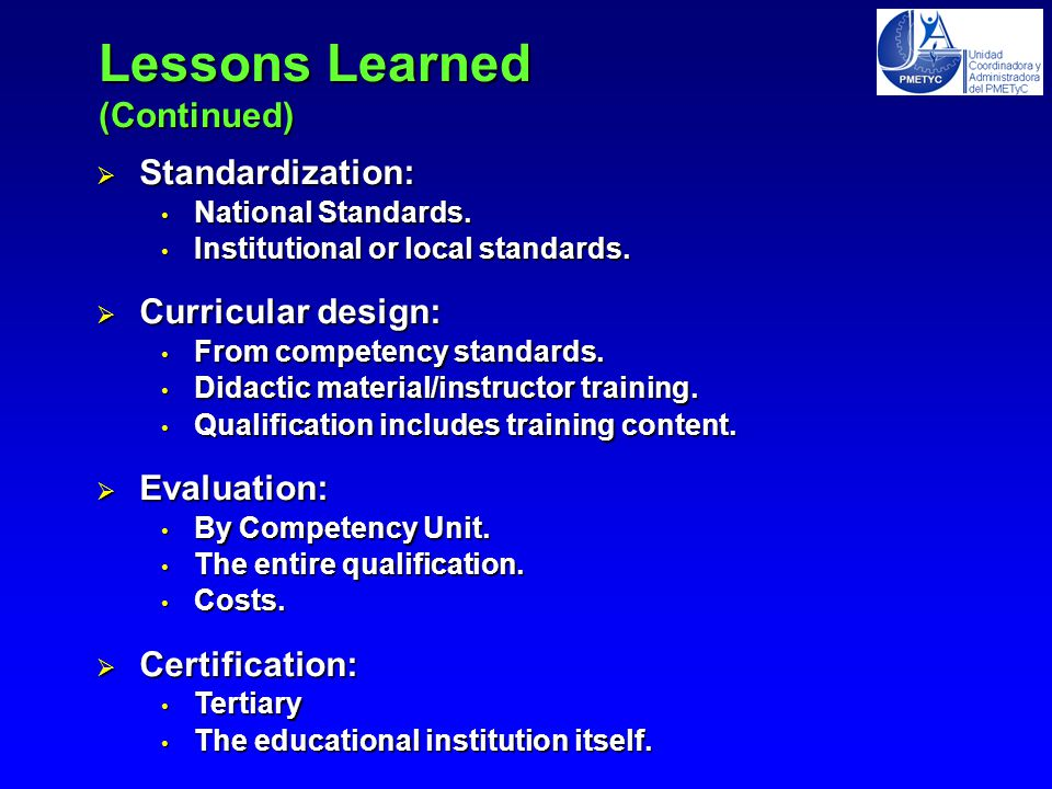 Standardization: National Standards. National Standards.