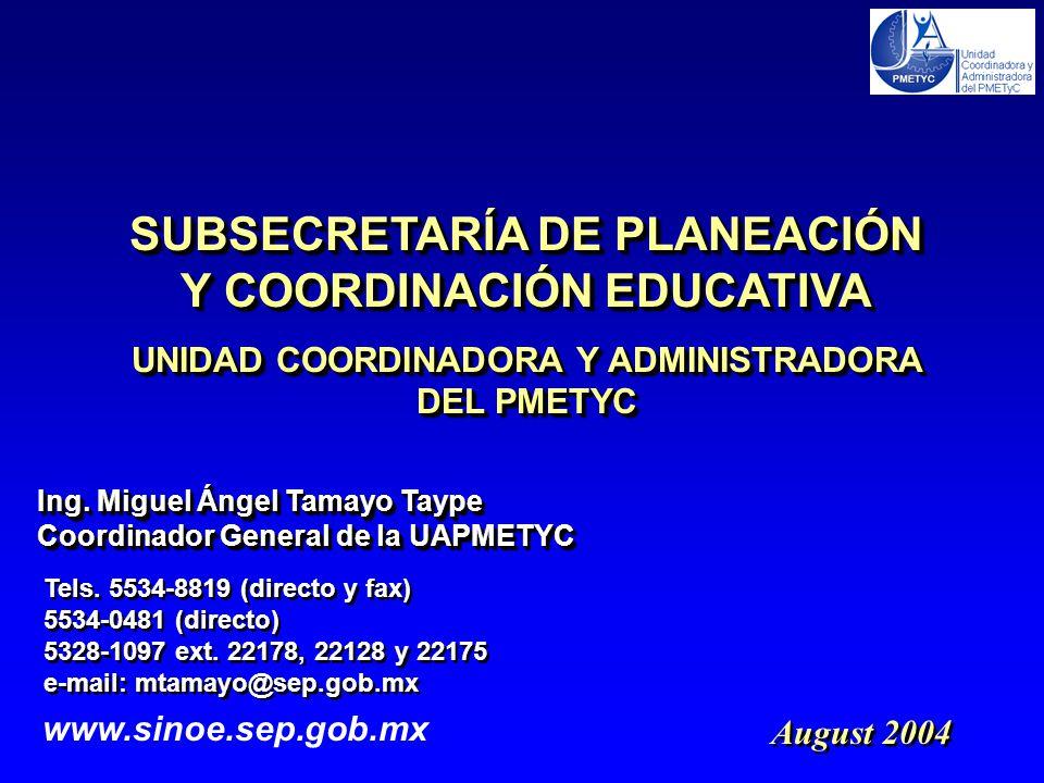 August 2004 Ing.Miguel Ángel Tamayo Taype Coordinador General de la UAPMETYC Ing.