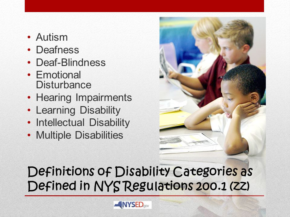 Definitions of Disability Categories as Defined in NYS Regulations 200.1 (zz) Autism Deafness Deaf-Blindness Emotional Disturbance Hearing Impairments