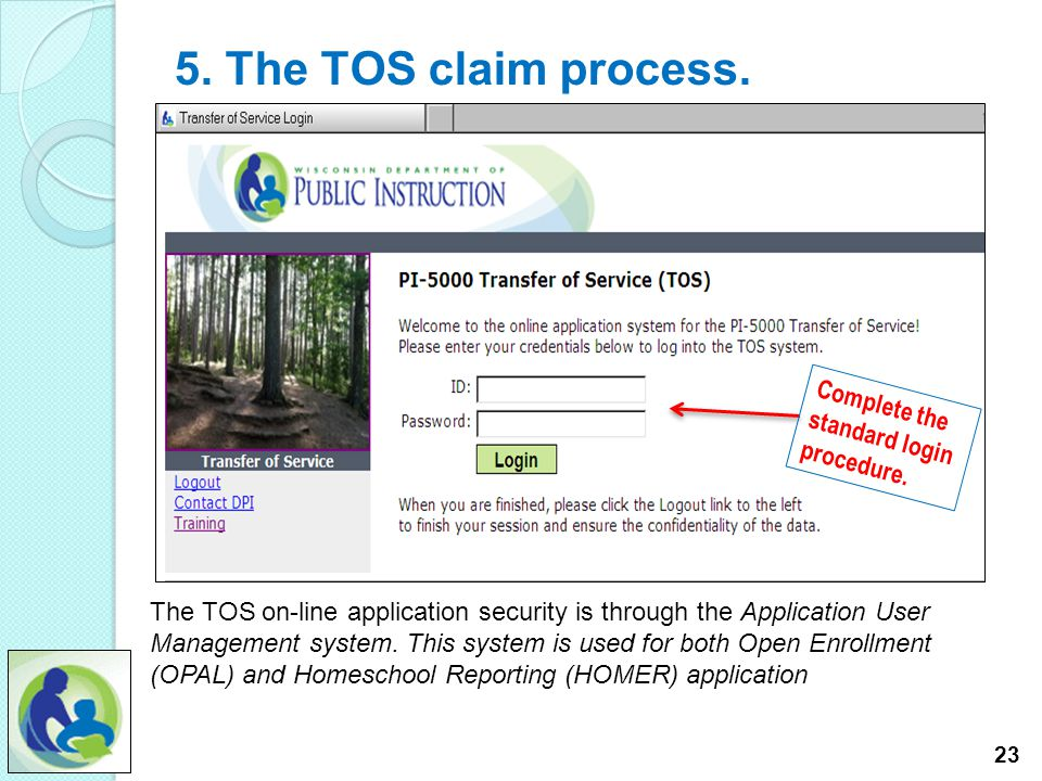 5. The TOS claim process. 22