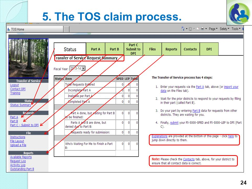 5. The TOS claim process. Complete the standard login procedure. The TOS on-line application security is through the Application User Management syste
