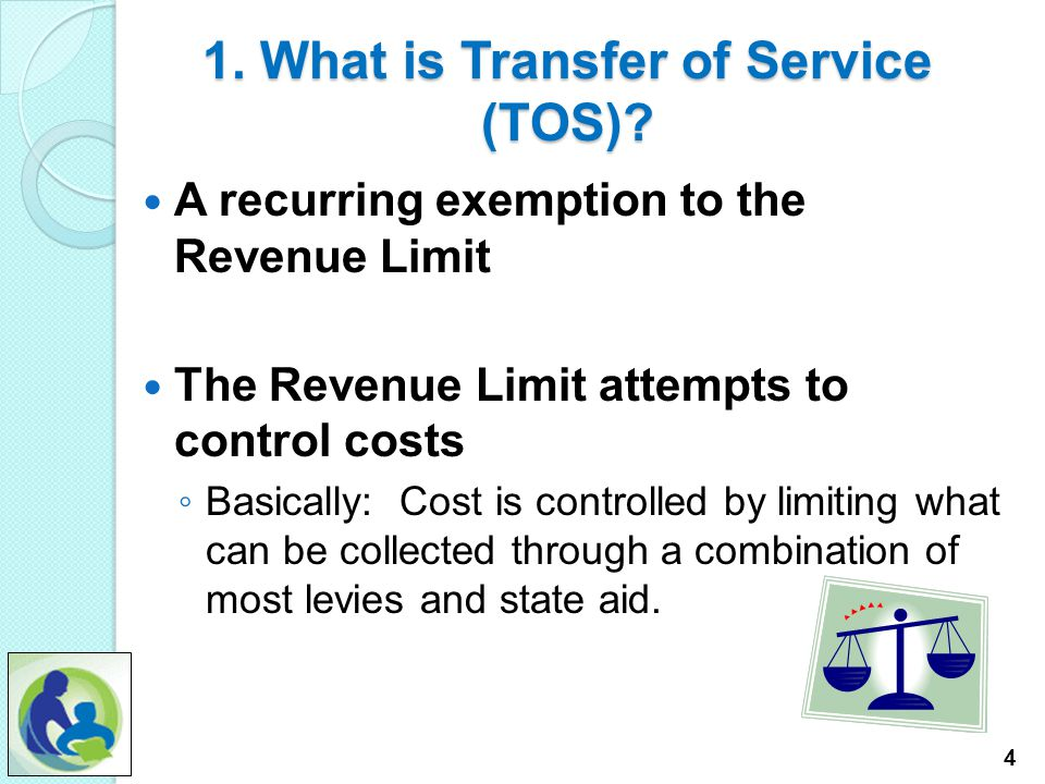 Transfer of Service and Special Education Costs Introduction Focus Points: 1.What is Transfer of Service (TOS)? 2.How will the TOS claim impact the sc