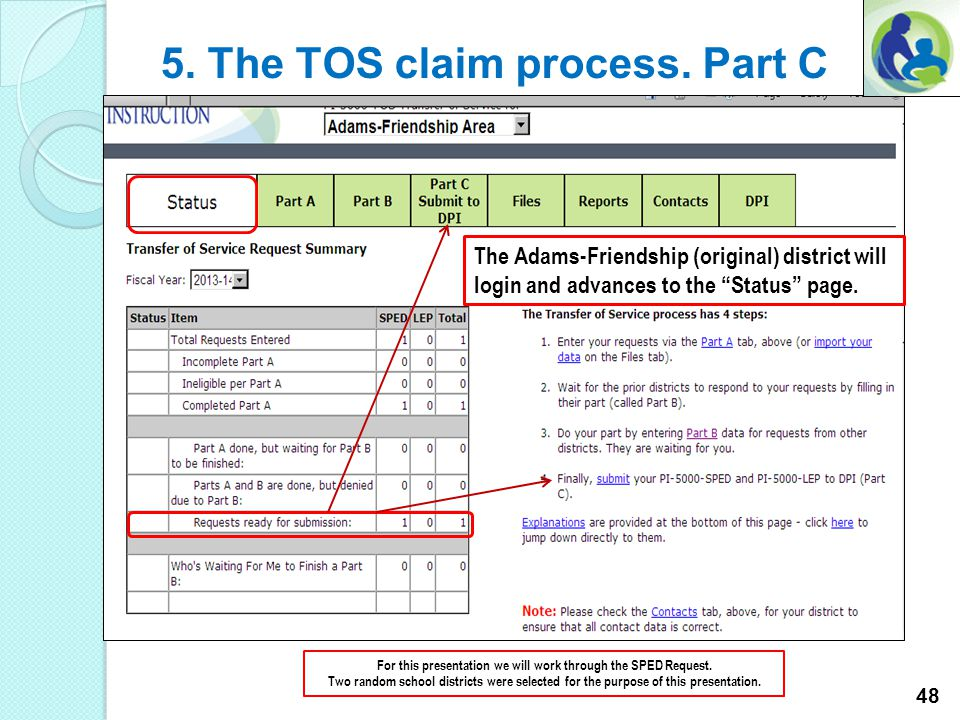 5. The TOS claim process. Part B For this presentation we will work through the SPED Request. Two random school districts were selected for the purpos
