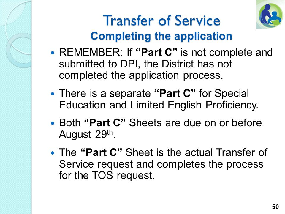 5. The TOS claim process. Part C For this presentation we will work through the SPED Request. Two random school districts were selected for the purpos