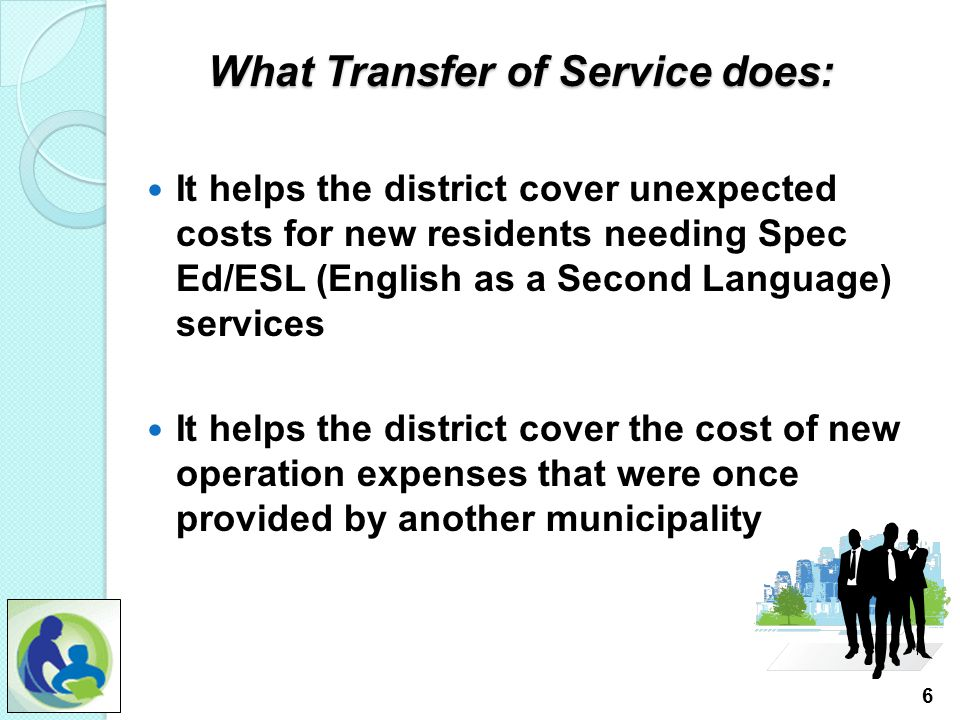 "1, What is Transfer of Service (TOS)? A TOS is based on WI Stat. 121.91(4)(a) ""if a school board increases the services that it provides by adding res"