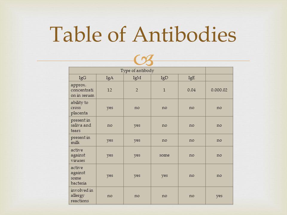  Table of Antibodies