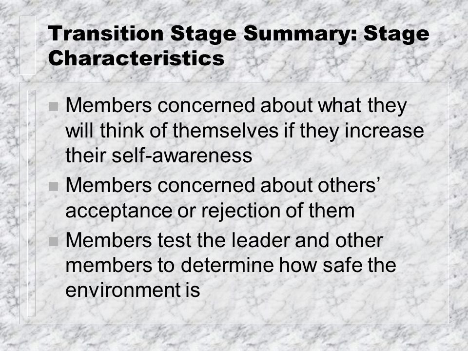 Transition Stage Summary: Stage Characteristics n Members concerned about what they will think of themselves if they increase their self-awareness n Members concerned about others' acceptance or rejection of them n Members test the leader and other members to determine how safe the environment is