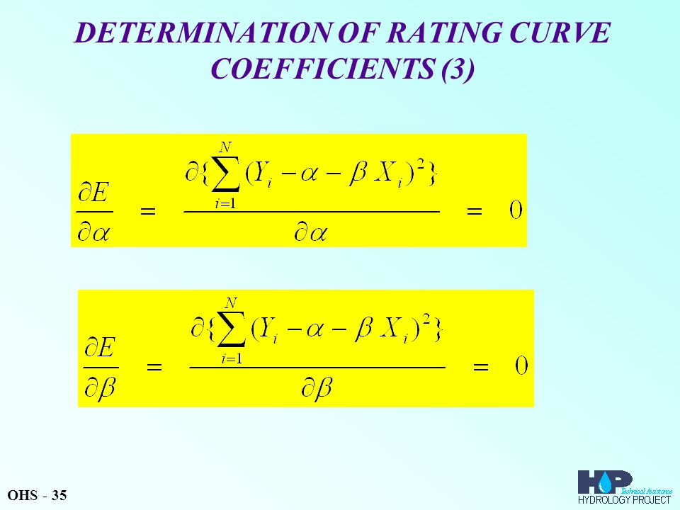 DETERMINATION OF RATING CURVE COEFFICIENTS (3) OHS - 35