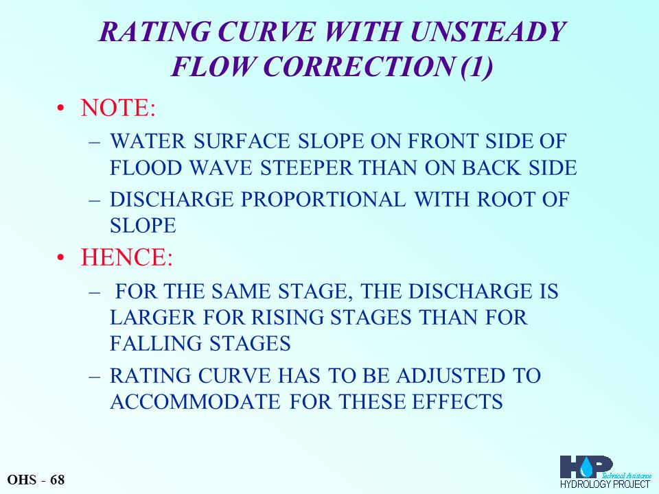 RATING CURVE WITH UNSTEADY FLOW CORRECTION (1) NOTE: –WATER SURFACE SLOPE ON FRONT SIDE OF FLOOD WAVE STEEPER THAN ON BACK SIDE –DISCHARGE PROPORTIONA