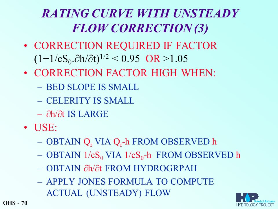RATING CURVE WITH UNSTEADY FLOW CORRECTION (3) CORRECTION REQUIRED IF FACTOR (1+1/cS 0.
