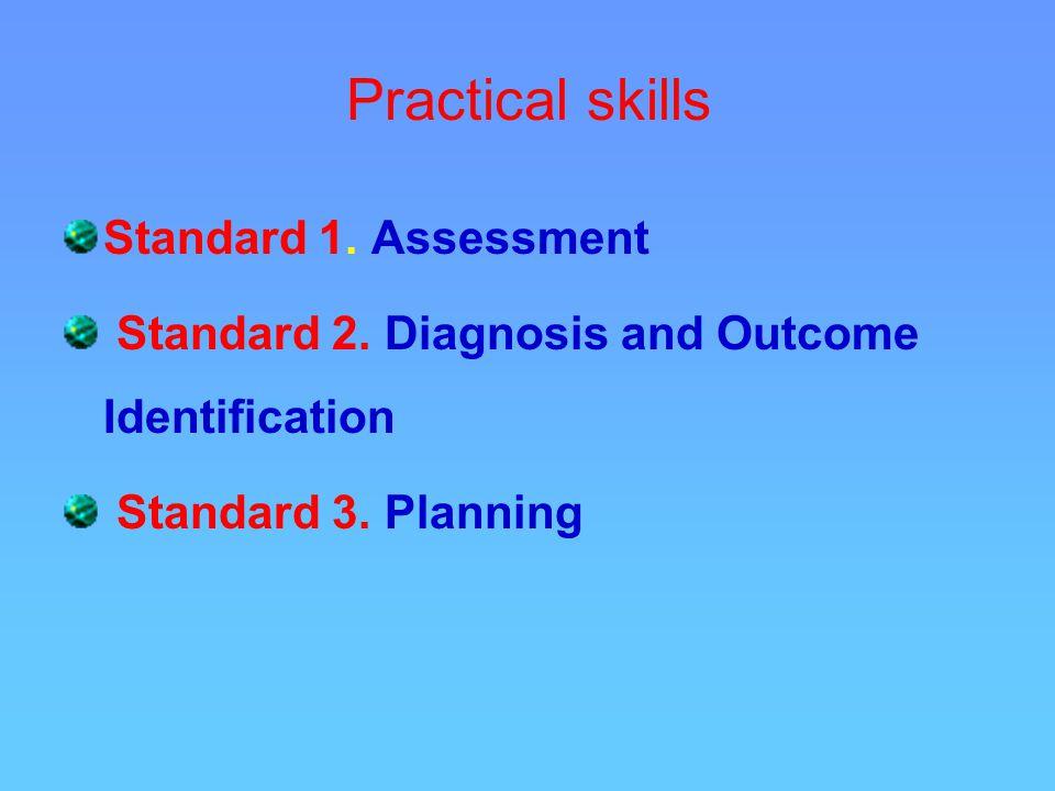 Practical skills Standard 1. Assessment Standard 2.