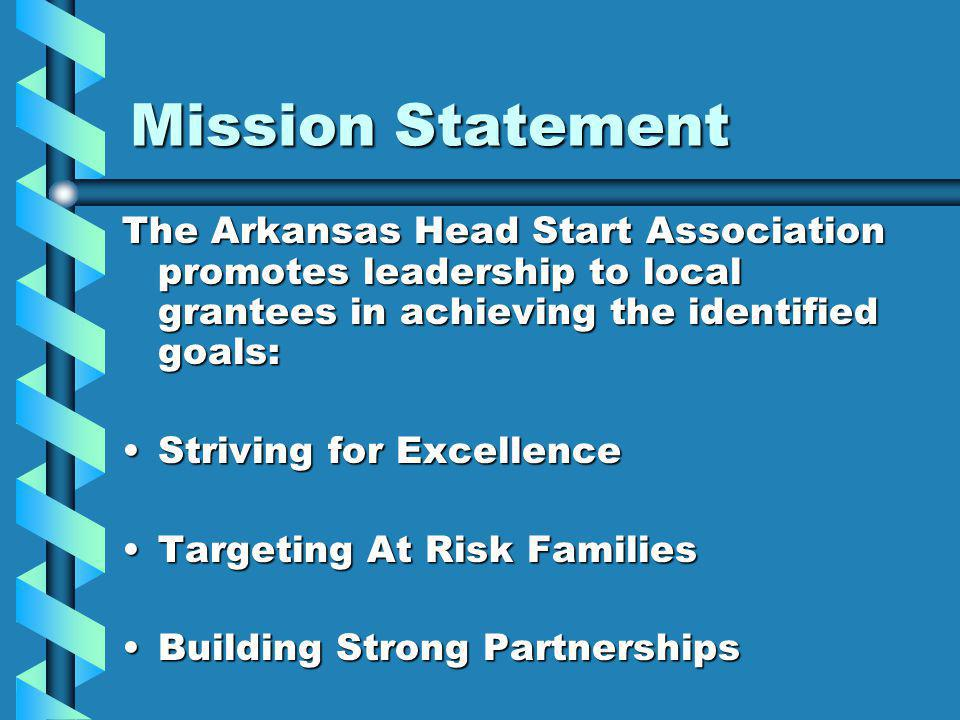Mission Statement The Arkansas Head Start Association promotes leadership to local grantees in achieving the identified goals: Striving for ExcellenceStriving for Excellence Targeting At Risk FamiliesTargeting At Risk Families Building Strong PartnershipsBuilding Strong Partnerships