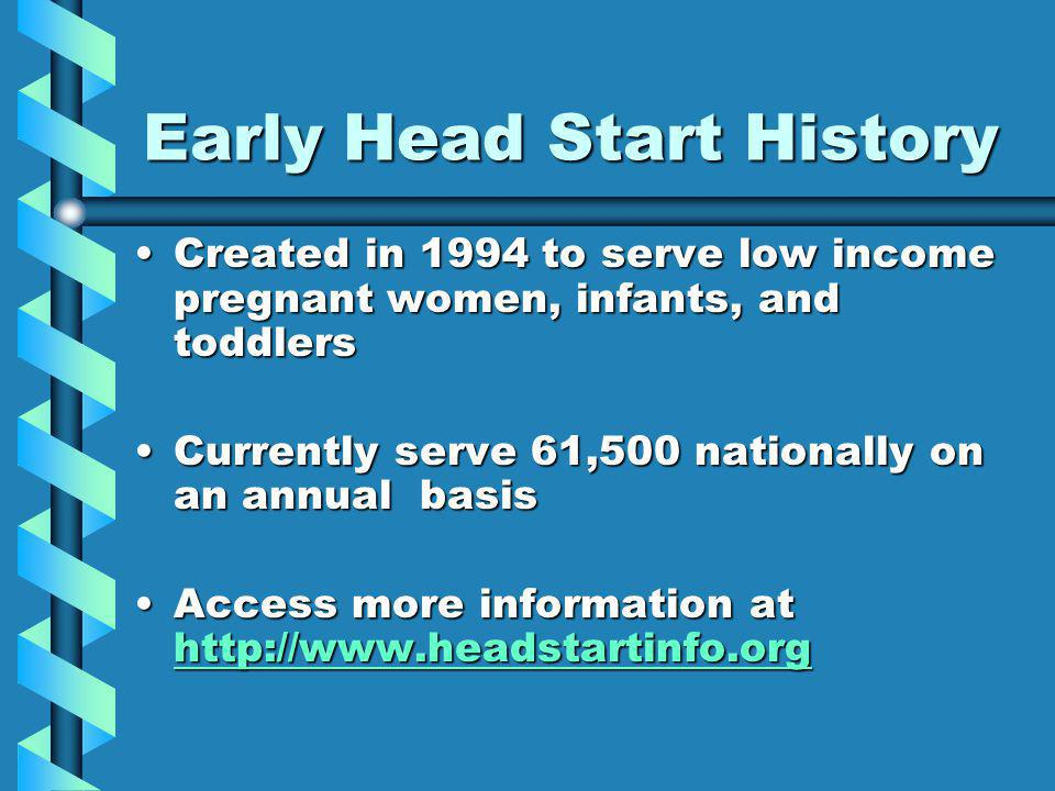 Migrant/Seasonal Head Start History Serve nearly 30,000 migrant children and nearly 2,500 seasonal children annuallyServe nearly 30,000 migrant children and nearly 2,500 seasonal children annually Operate in 37 states in every region of the countryOperate in 37 states in every region of the country Provide extended hours service, 12 hours a day, and often 6 days a weekProvide extended hours service, 12 hours a day, and often 6 days a week Have served migrant children and families since 1969Have served migrant children and families since 1969 Have served seasonal children and families since 1999Have served seasonal children and families since 1999 Were the first to serve infants and toddlersWere the first to serve infants and toddlers