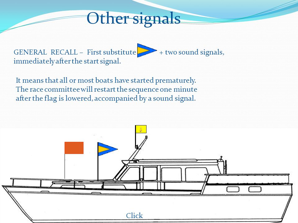 Other signals GENERAL RECALL – First substitute + two sound signals, immediately after the start signal.