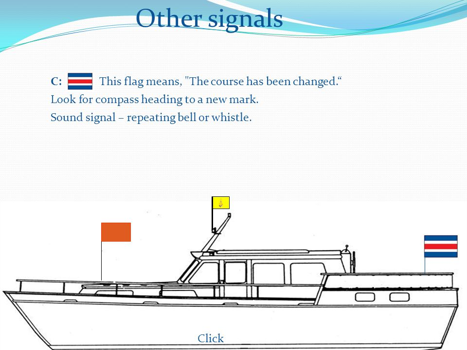 Other signals Click C: This flag means, The course has been changed. Look for compass heading to a new mark.