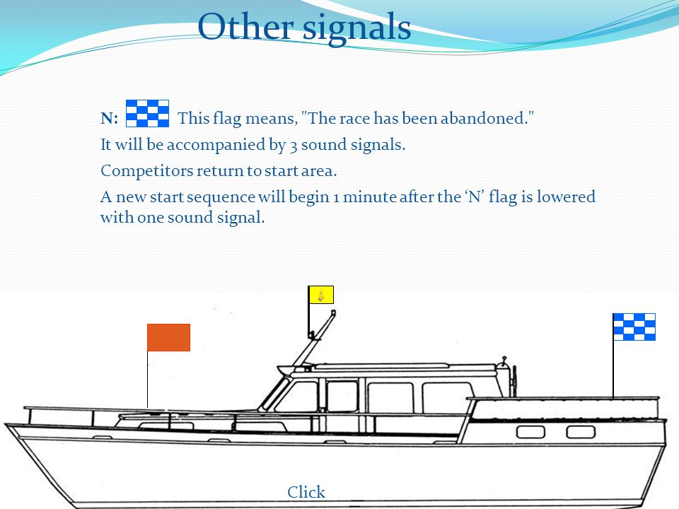Other signals Click N: This flag means, The race has been abandoned. It will be accompanied by 3 sound signals.