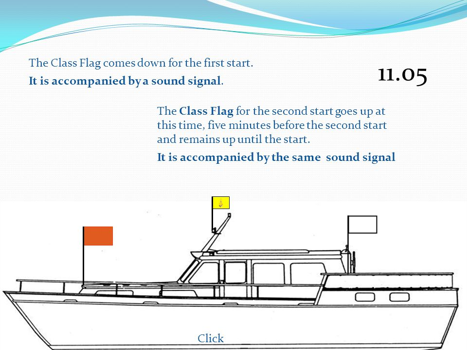 The Class Flag comes down for the first start.It is accompanied by a sound signal.