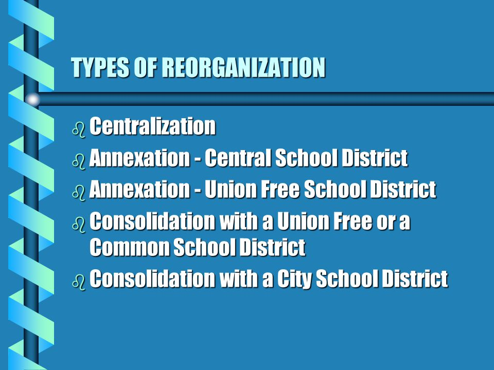 TYPES OF REORGANIZATION b Centralization b Annexation - Central School District b Annexation - Union Free School District b Consolidation with a Union Free or a Common School District b Consolidation with a City School District