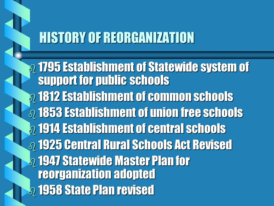 HISTORY OF REORGANIZATION b 1795 Establishment of Statewide system of support for public schools b 1812 Establishment of common schools b 1853 Establishment of union free schools b 1914 Establishment of central schools b 1925 Central Rural Schools Act Revised b 1947 Statewide Master Plan for reorganization adopted b 1958 State Plan revised
