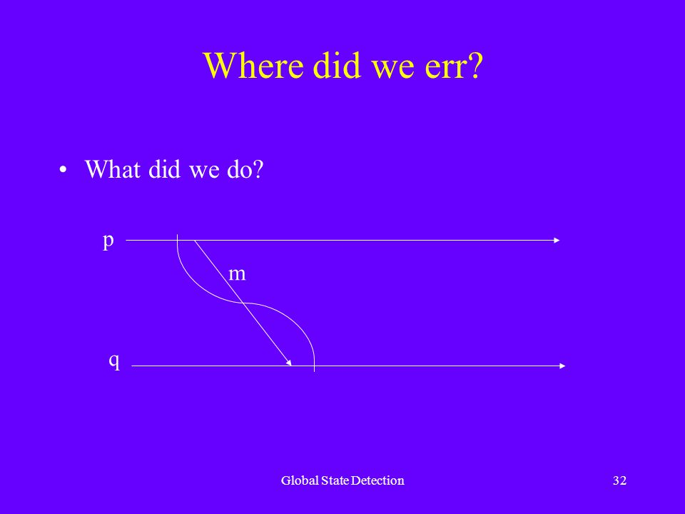 Global State Detection32 Where did we err What did we do p q m
