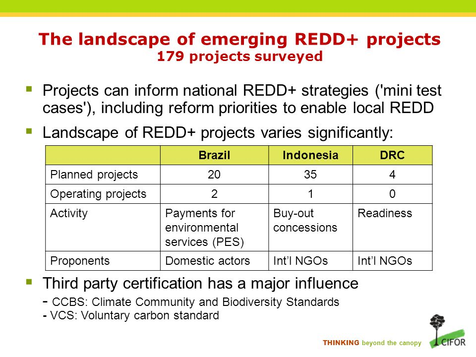THINKING beyond the canopy The landscape of emerging REDD+ projects 179 projects surveyed  Projects can inform national REDD+ strategies ( mini test cases ), including reform priorities to enable local REDD  Landscape of REDD+ projects varies significantly:  Third party certification has a major influence - CCBS: Climate Community and Biodiversity Standards - VCS: Voluntary carbon standard BrazilIndonesiaDRC Planned projects20354 Operating projects210 ActivityPayments for environmental services (PES) Buy-out concessions Readiness ProponentsDomestic actorsInt'l NGOs
