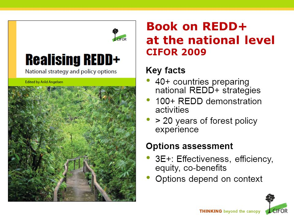 THINKING beyond the canopy Realising REDD+: National strategy and policy options  Part 1: Moving REDD+ from global to national level  Part 2: Building REDD+ institutional architecture and processes  Part 3: Enabling REDD+ through broad policy reforms Part 4: Doing REDD+ by changing incentives  Part 5: Testing REDD+ through pilots  Key messages & outlook