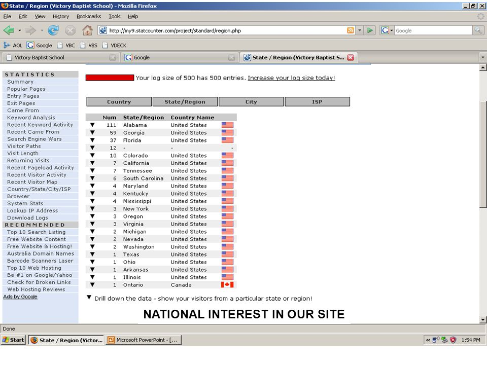 NATIONAL INTEREST IN OUR SITE