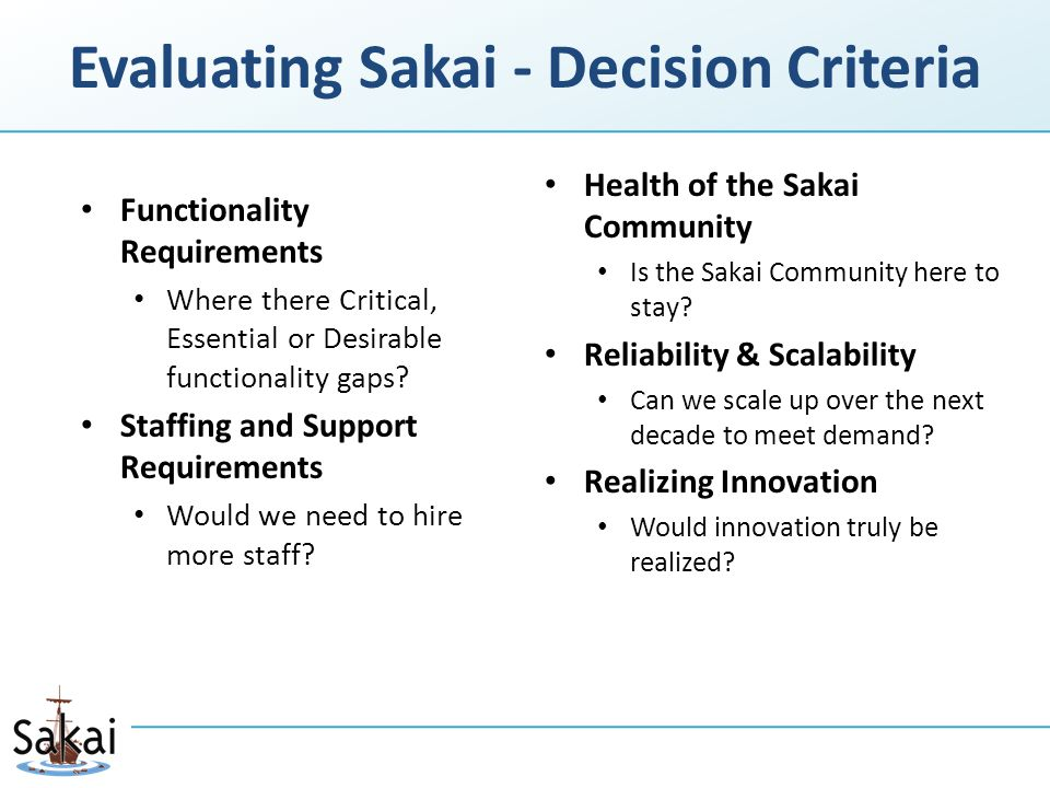 Evaluating Sakai - Decision Criteria Functionality Requirements Where there Critical, Essential or Desirable functionality gaps.