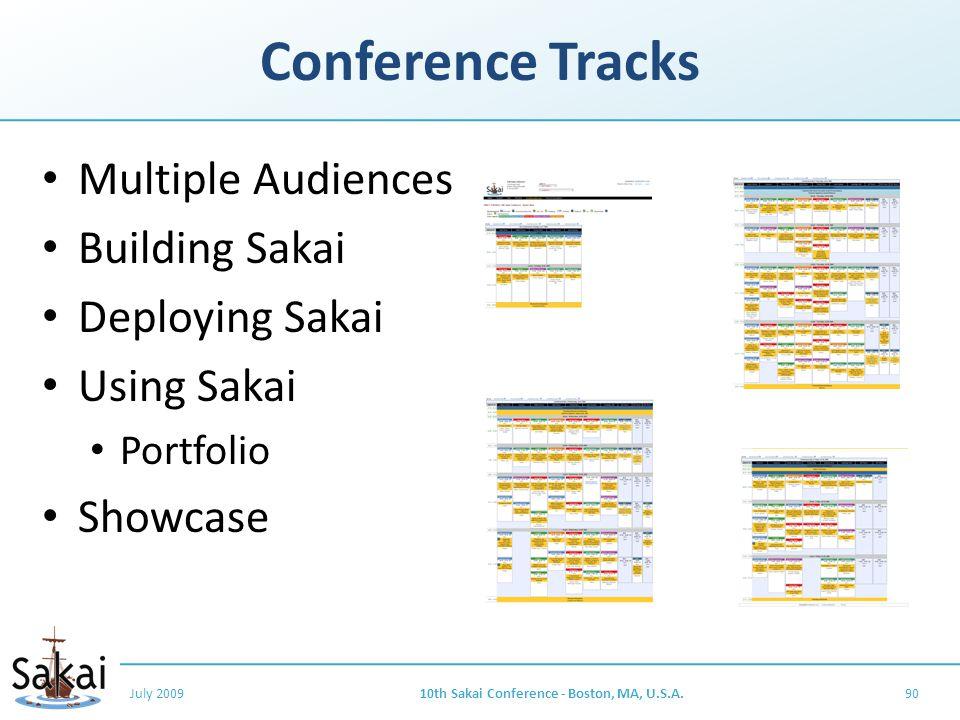 Conference Tracks Multiple Audiences Building Sakai Deploying Sakai Using Sakai Portfolio Showcase July 200910th Sakai Conference - Boston, MA, U.S.A.90