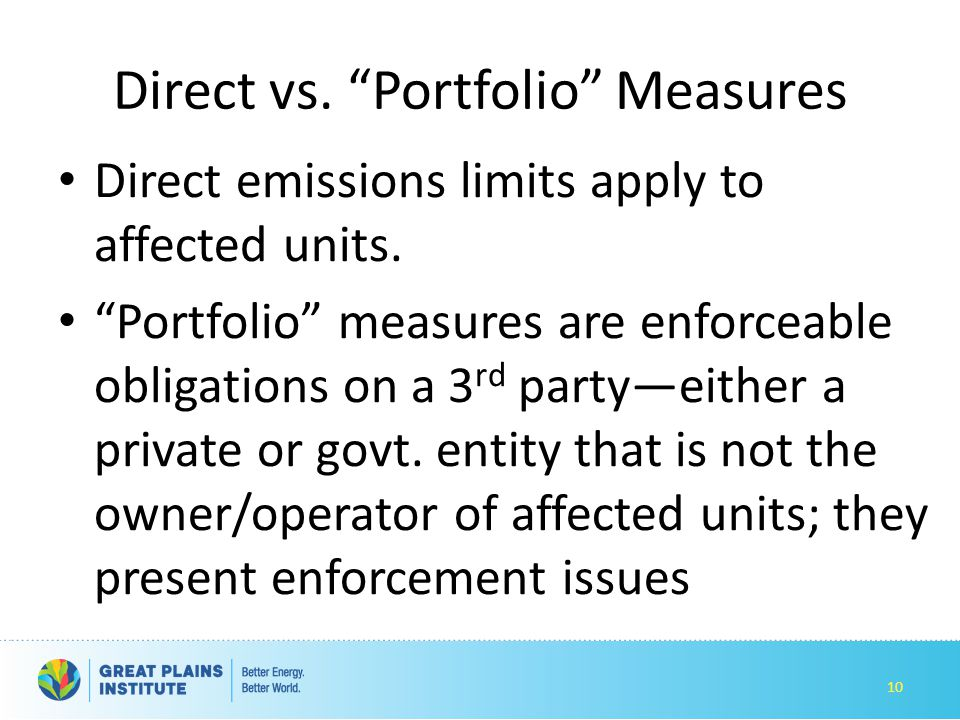 Direct vs. Portfolio Measures Direct emissions limits apply to affected units.