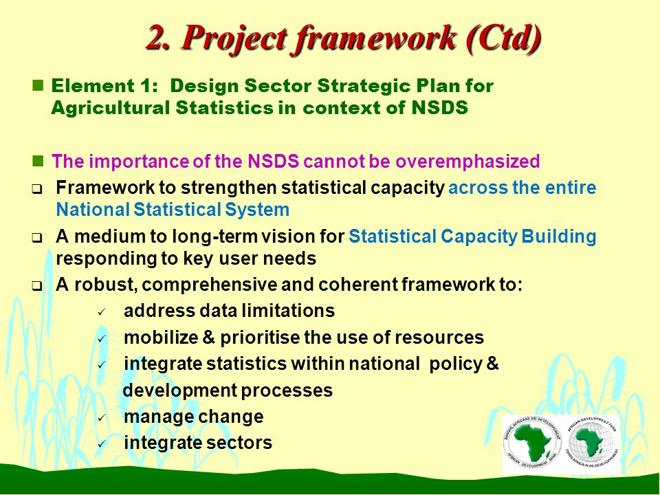2. Project framework (Ctd) nElement 1: Design Sector Strategic Plan for Agricultural Statistics in context of NSDS nThe importance of the NSDS cannot