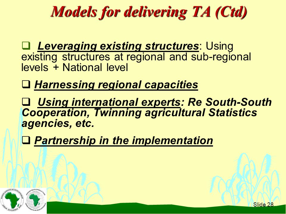 Slide 28  Leveraging existing structures: Using existing structures at regional and sub-regional levels + National level  Harnessing regional capaci