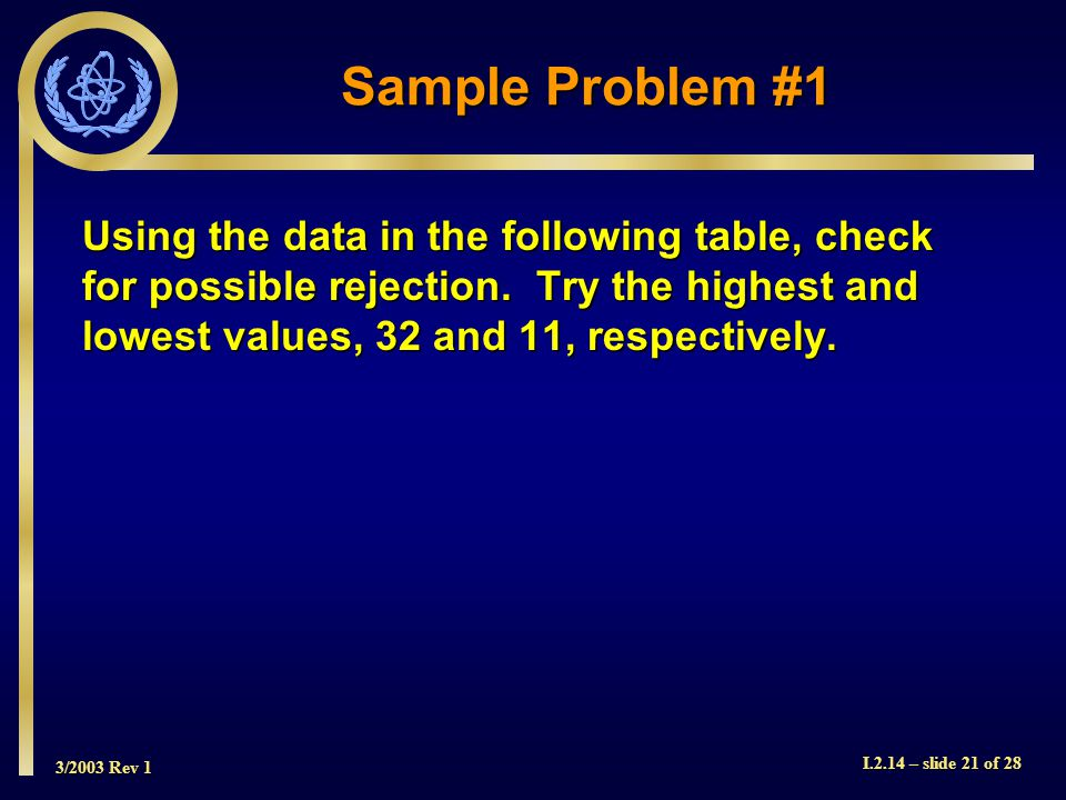 3/2003 Rev 1 I.2.14 – slide 21 of 28 Sample Problem #1 Using the data in the following table, check for possible rejection.