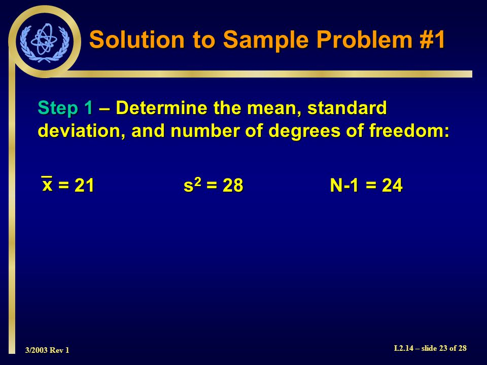 3/2003 Rev 1 I.2.14 – slide 23 of 28 Step 1 – Determine the mean, standard deviation, and number of degrees of freedom: = 21s 2 = 28N-1 = 24 = 21s 2 = 28N-1 = 24 Solution to Sample Problem #1 _x