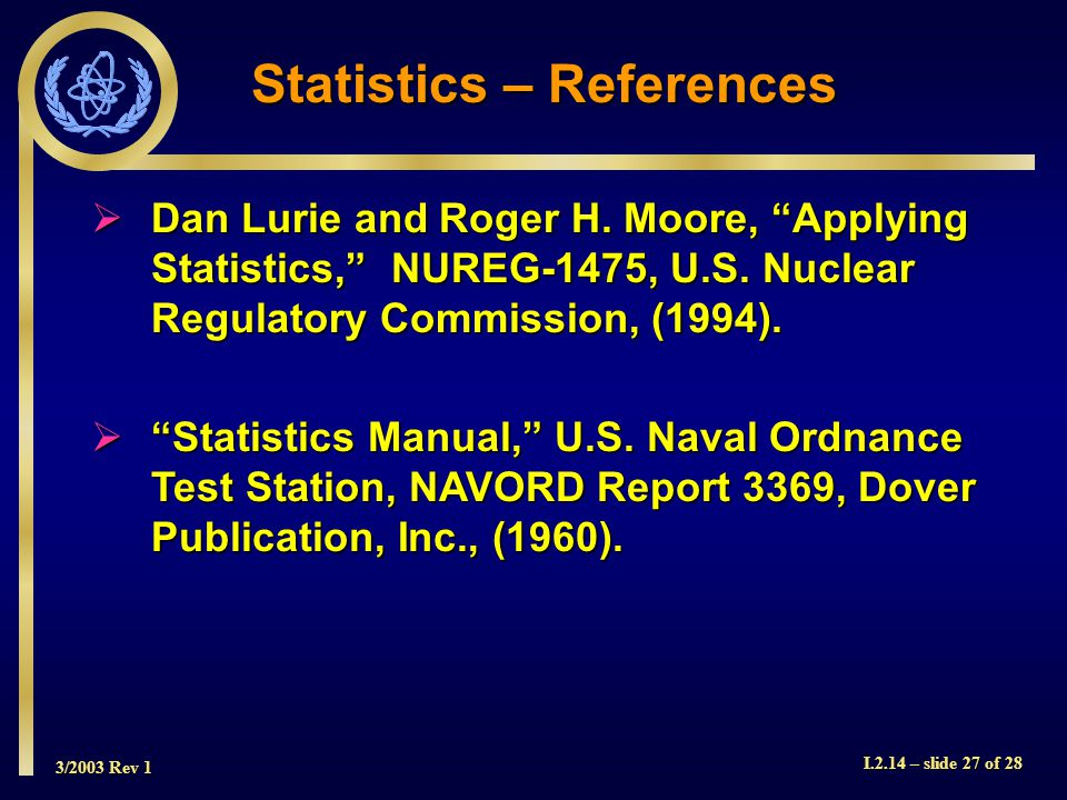3/2003 Rev 1 I.2.14 – slide 27 of 28  Dan Lurie and Roger H.