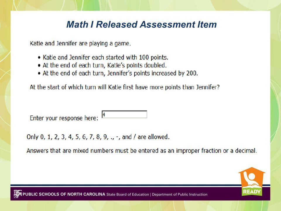 Math I Released Assessment Item