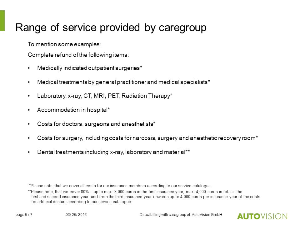 Range of service provided by caregroup To mention some examples: Complete refund of the following items: Medically indicated outpatient surgeries* Med