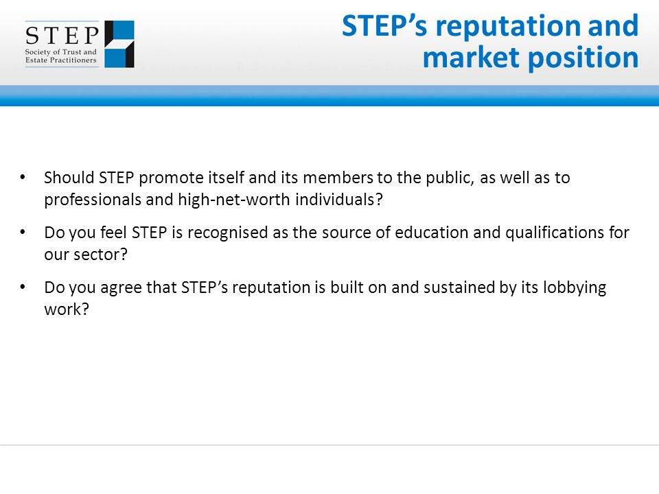 Should STEP promote itself and its members to the public, as well as to professionals and high-net-worth individuals? Do you feel STEP is recognised a