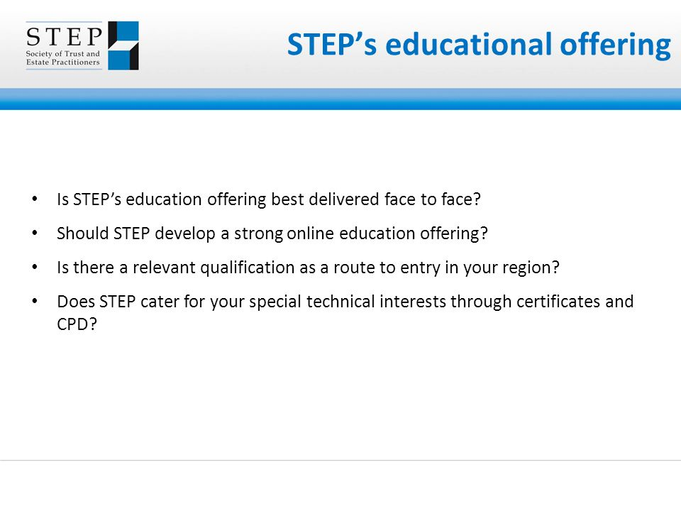 STEP's educational offering Is STEP's education offering best delivered face to face.