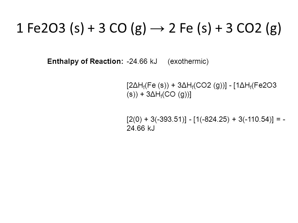 1 Fe2O3 (s) + 3 CO (g) → 2 Fe (s) + 3 CO2 (g) Enthalpy of Reaction:-24.66 kJ (exothermic) [2ΔH f (Fe (s)) + 3ΔH f (CO2 (g))] - [1ΔH f (Fe2O3 (s)) + 3Δ