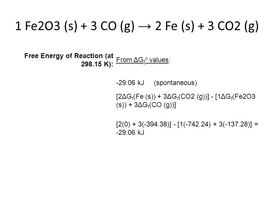 1 Fe2O3 (s) + 3 CO (g) → 2 Fe (s) + 3 CO2 (g) Free Energy of Reaction (at 298.15 K): From ΔG f o values: -29.06 kJ (spontaneous) [2ΔG f (Fe (s)) + 3ΔG