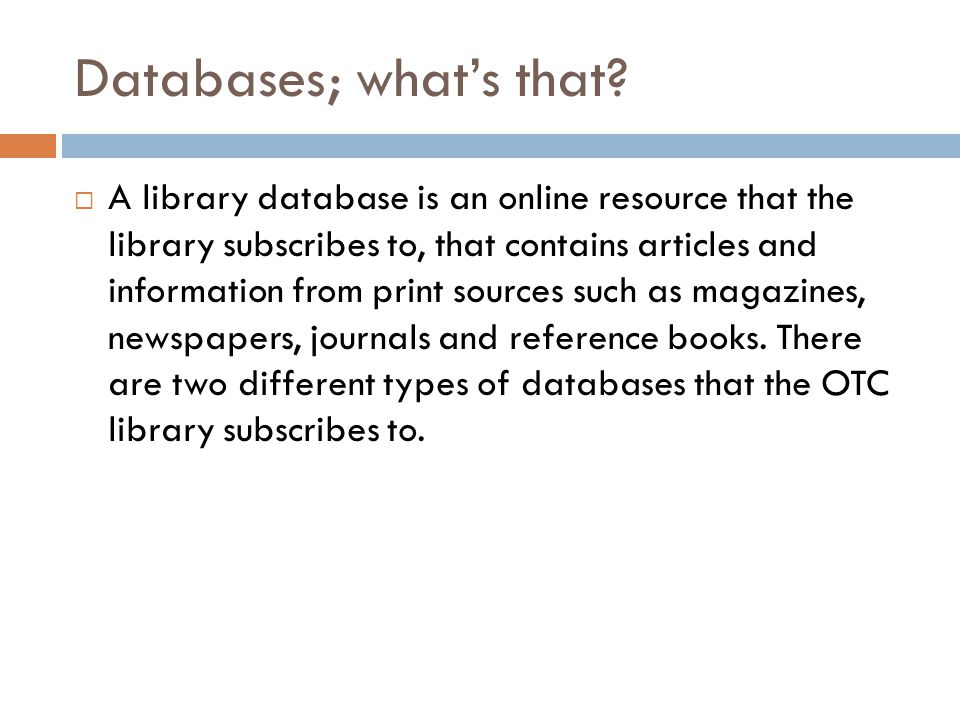 Databases; what's that.