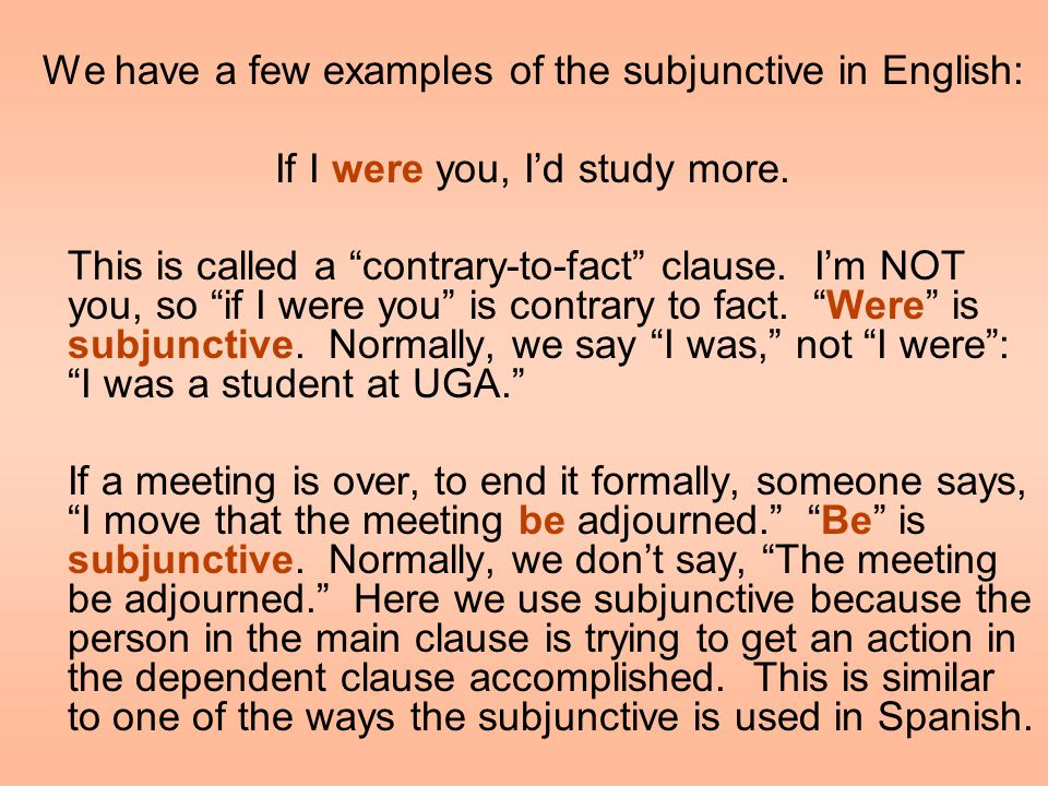 Before we get into when we need the subjunctive in Spanish, let's do a brief review of clauses in English.
