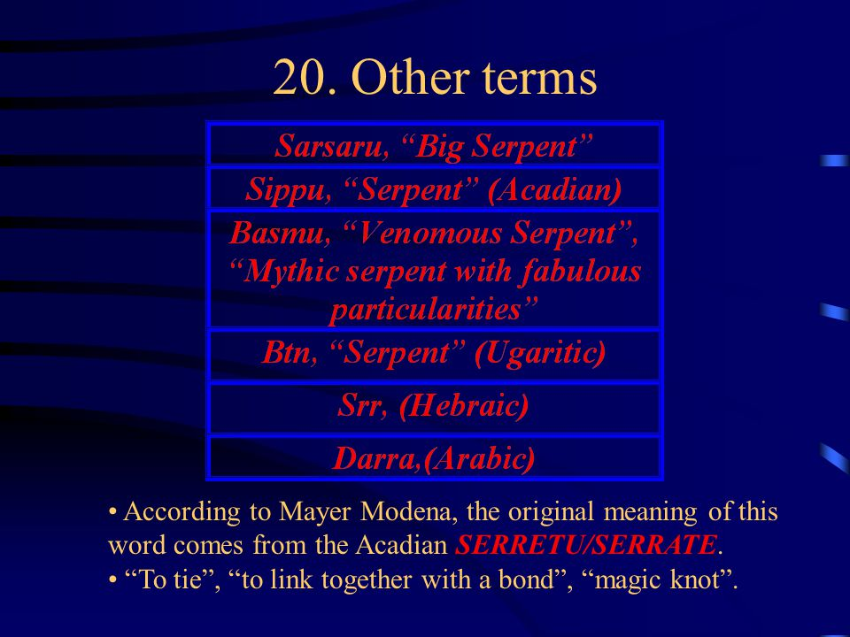 """20. Other terms According to Mayer Modena, the original meaning of this word comes from the Acadian SERRETU/SERRATE. """"To tie"""", """"to link together with"""