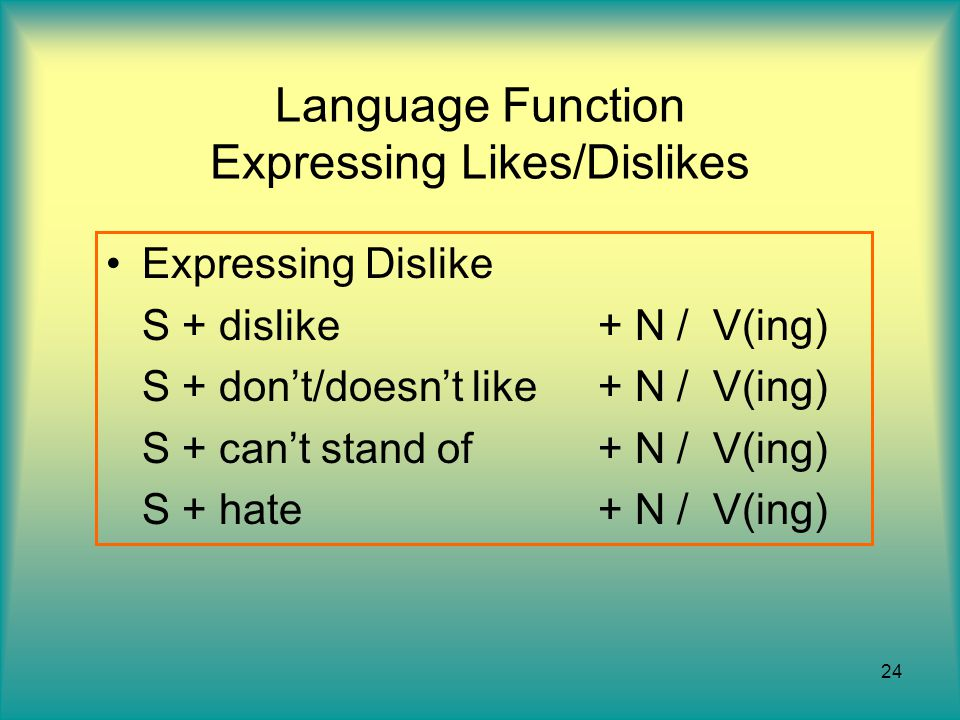 24 Language Function Expressing Likes/Dislikes Expressing Dislike S + dislike + N / V(ing) S + don't/doesn't like + N / V(ing) S + can't stand of + N