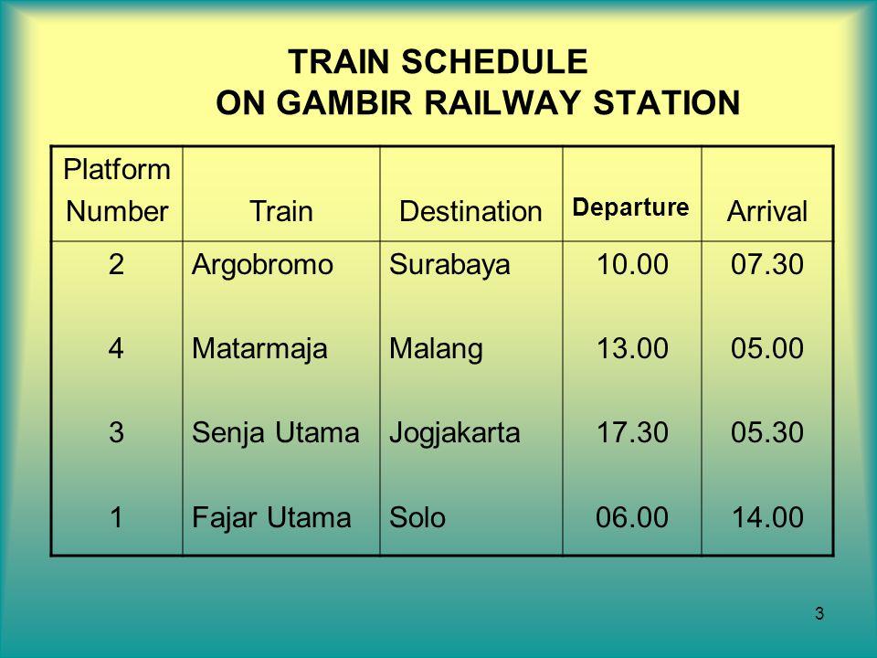 3 TRAIN SCHEDULE ON GAMBIR RAILWAY STATION Platform NumberTrainDestination Departure Arrival 24312431 Argobromo Matarmaja Senja Utama Fajar Utama Sura