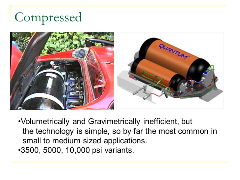 Compressed Volumetrically and Gravimetrically inefficient, but the technology is simple, so by far the most common in small to medium sized applications.