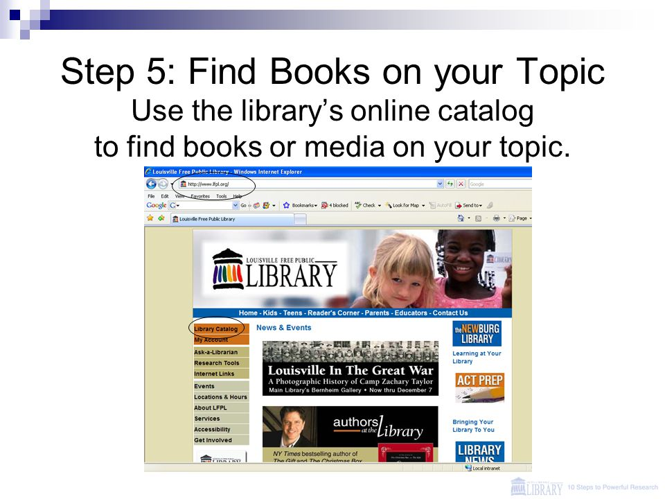 Step 5: Find Books on your Topic Use the library's online catalog to find books or media on your topic.
