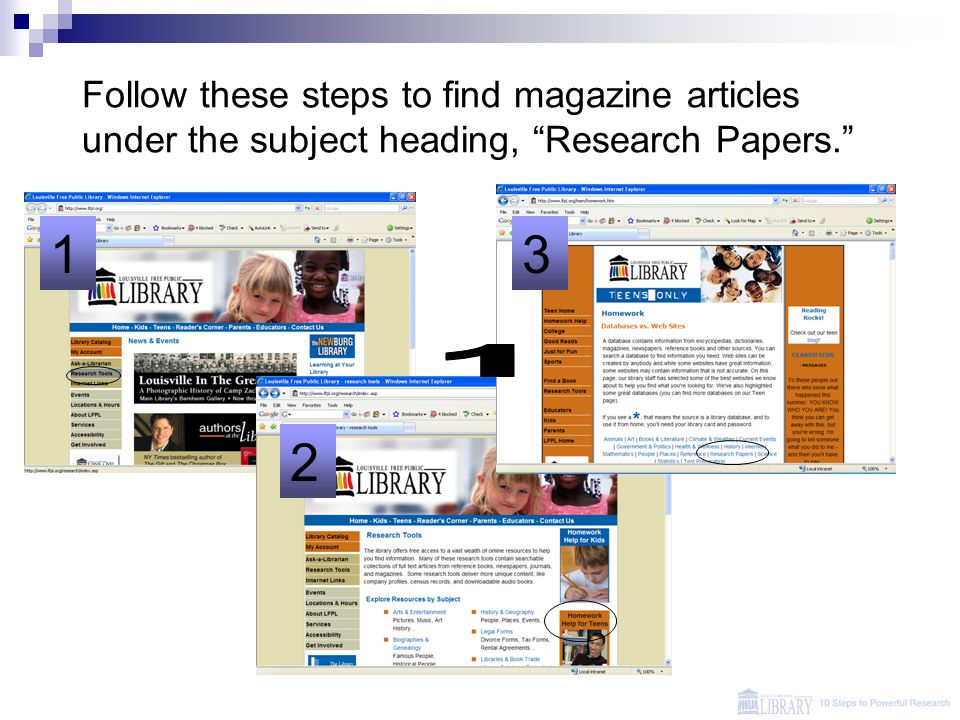 Follow these steps to find magazine articles under the subject heading, Research Papers. 1 2 3